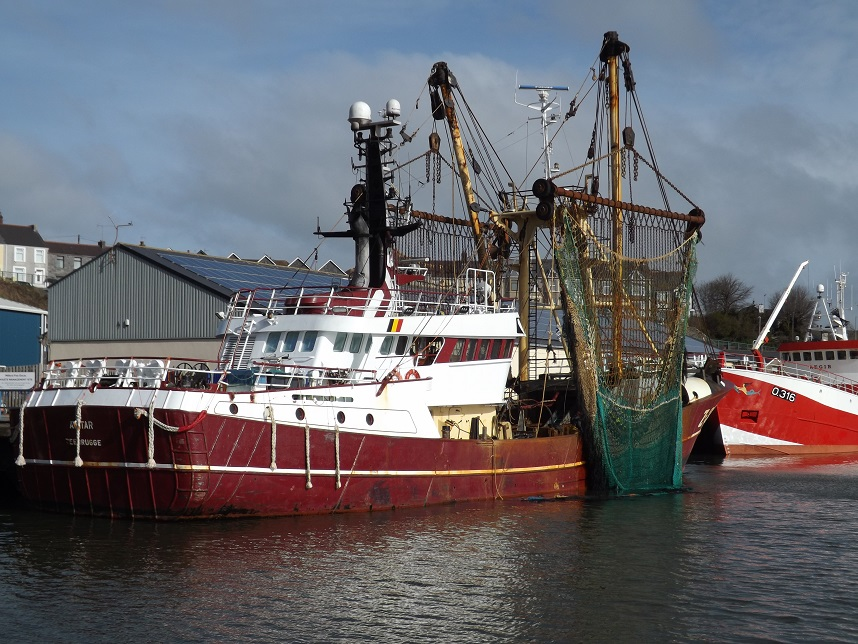 A vessel known as a beam trawler sits at the dock in Milford Haven, Wales, United Kingdom.Jan Hiddink/Bangor University