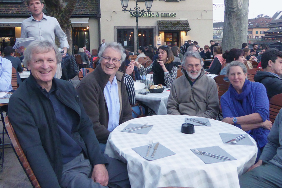 John Williams (left), Francoise Travade, Michel Larinier, and Mary Moser after a hard day looking at fish passage facilities on the Rhine River.