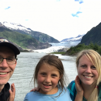 The family at Mendenhall Glacier, Juneau 2018