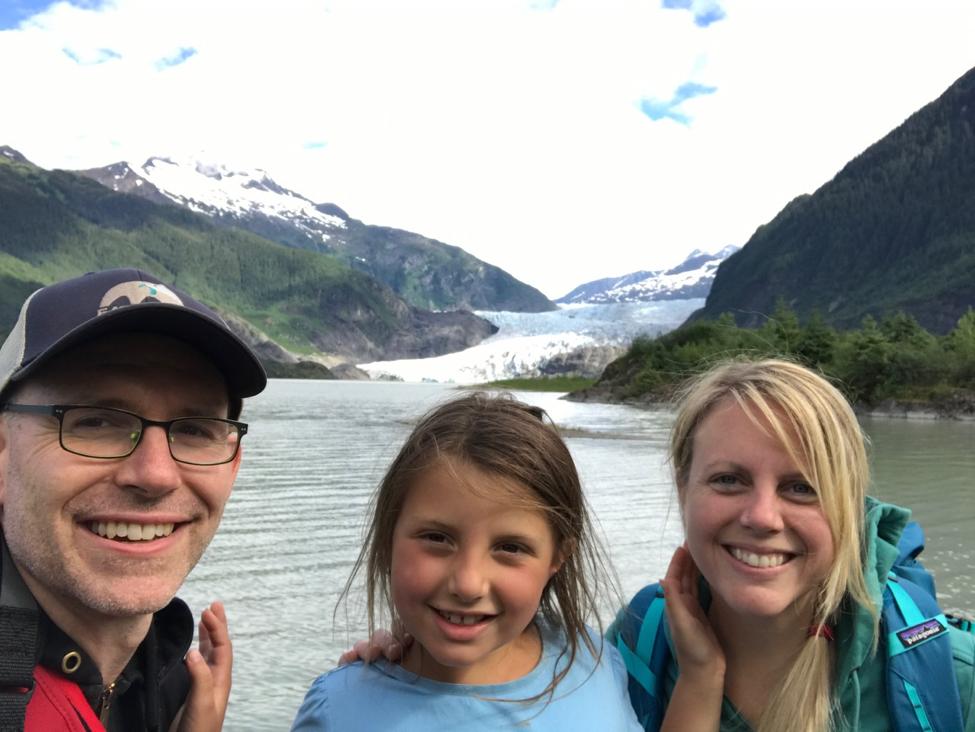 The family atMendenhall Glacier, Juneau 2018
