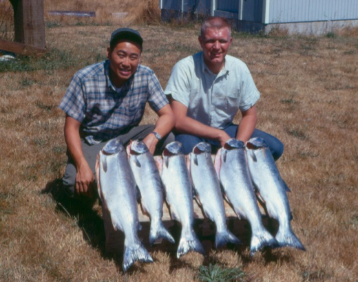 Ken Chew (MS, 1958; PhD, 1963; faculty) and Don Weitkamp, with field trip results