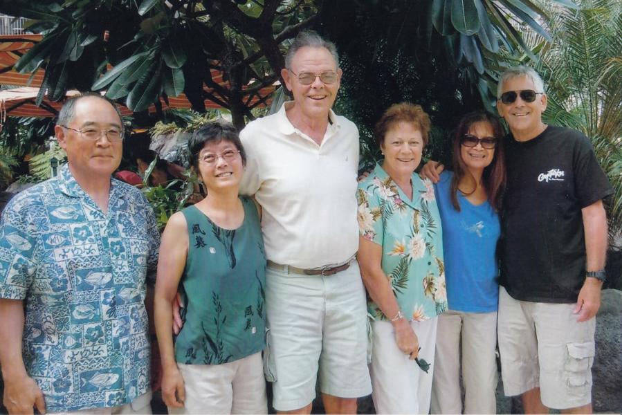 Jeff (MS, 1970; PhD, 1978) and Carol Fujioka, Gary and Diane, and Purita and Jerry (PhD, 1971) Wetherall in Hawaii in 2010.