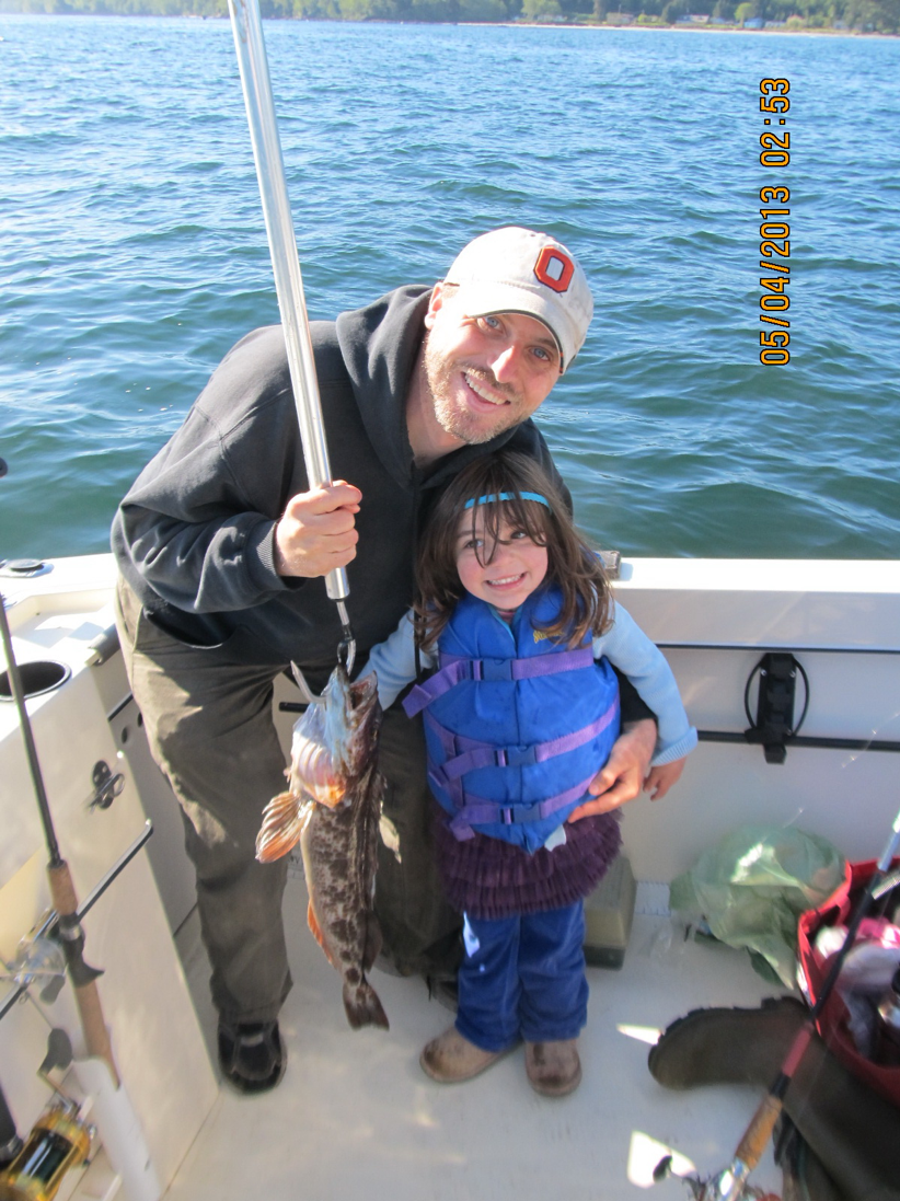 The first fish my daughter caught, a lingcod!