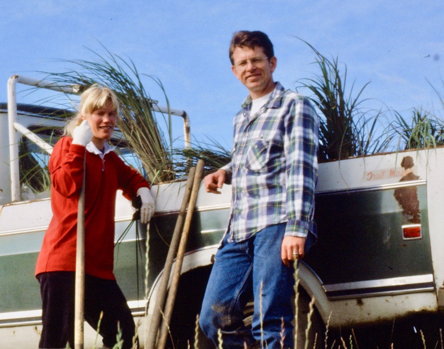 Jenny Hampel and Ron Thim at Gog-li-hi-te wetland project in Tacoma in the mod-1980s.