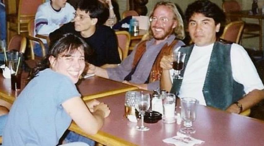 From L to R, Ellen Gryj (Zoology Dept) and Diego Holmgren, Greg Hood, Jesus Jurado-Molina (School of Fisheries) in the 1990s