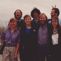 The Wetland Ecosystem Team (WET) in the early 1990s. L to R, back to front: Si Simenstad, Lucinda Tear, Blake Feist, Laurie Weitkamp, Jessica Miller, Greg Hood, Cheryl Morgan. Always WET!