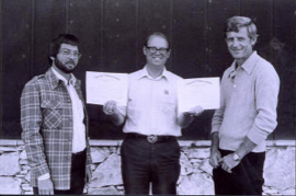 AFS Water Quality Section Officers in West Yellowstone, MT (1979); L-R: Foster (Sonny) Mayer, president-elect; John Meldrim, secretary-treasurer; Howard E. Johnson, past-president.