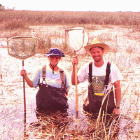 Noble and a field tech (Jessica Stevenson) in the Florida Everglades (circa 1996).