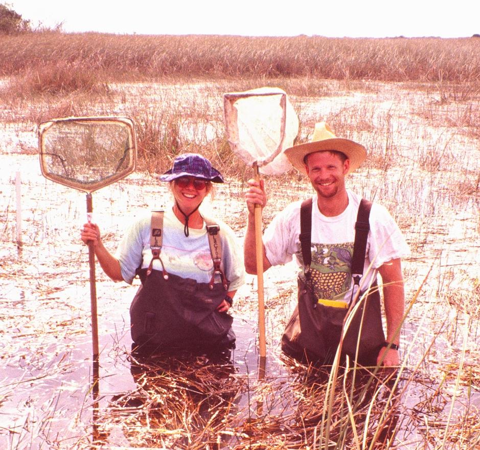 Noble and a field tech (Jessica Stevenson) in the Florida Everglades (circa 1996).