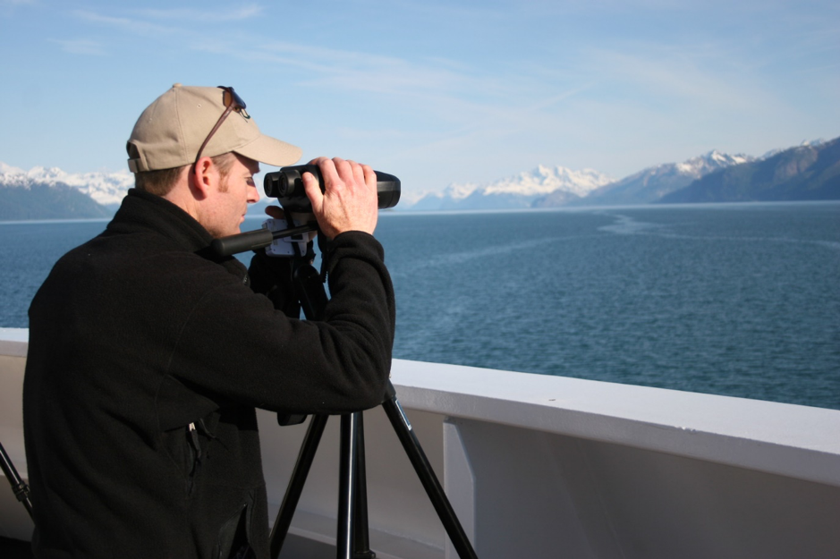 On the bow of a cruise ship looking for humpback whales! (Glacier Bay, Alaska 2006)