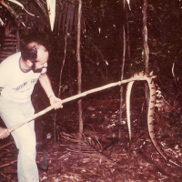 Jim Karr with a snake in 1978