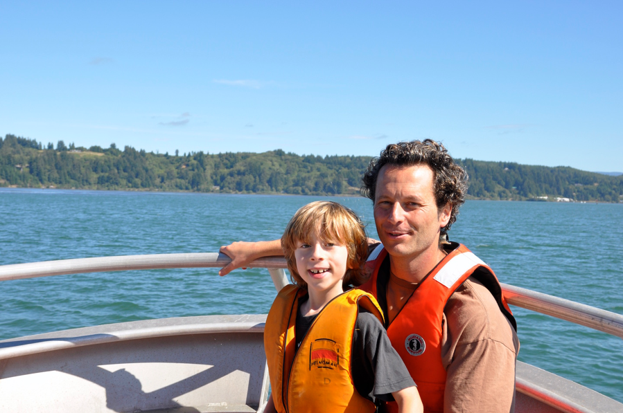 Lorenzo and his son (Luca) and I on the OSU R/V Elakha, in the Yaquina Bay.