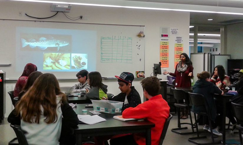 SEAS presenting in front of a class of middle school students