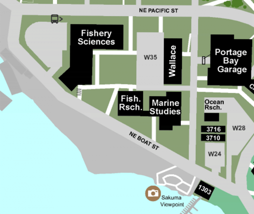 map of south campus where the School of Aquatic and Fishery Sciences is located