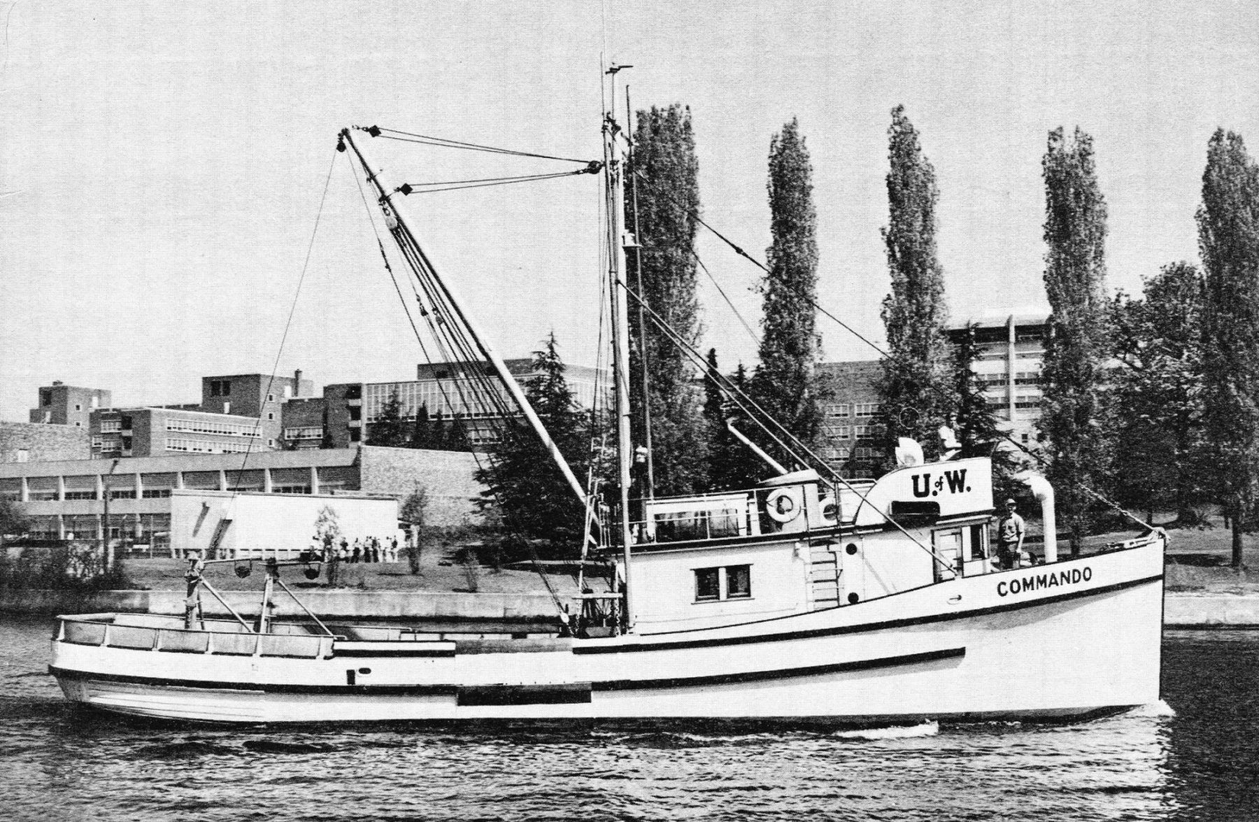 Archive image of the R/V Commando as it passes through the Montlake Cut