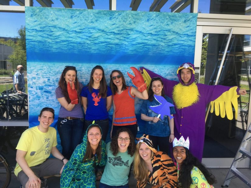 Laura and classmates dressed as a variety of sea creatures during the SAFS 2017 spring picnic