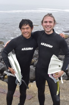 John and another student standing on the beach in Hokkaido, Japan after snorkeling