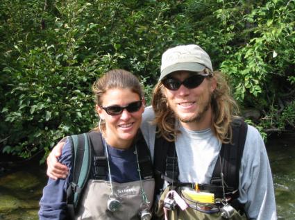 Sue Johnson and Jon Moore during a sockeye salmon spawner survey on Ice Creek, Lake Nerka, Alaska