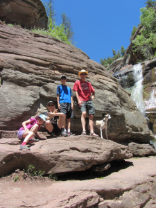 Andy and the kids hiking in Redstone, Colorado