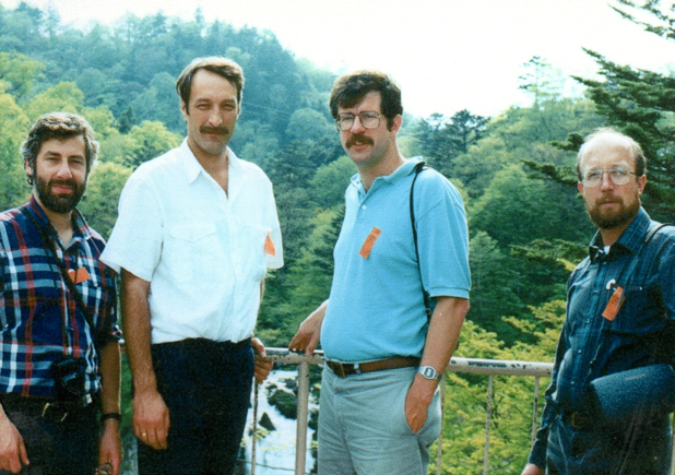 With Egil Ona, Neil Williamson and Jim Traynor during a acousttics workshop in Japan (1989)