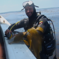 Diving the kelp beds off Point Loma, San Diego California ca. 2009. Being able to connect with fishers in the field was a highlight of my research.