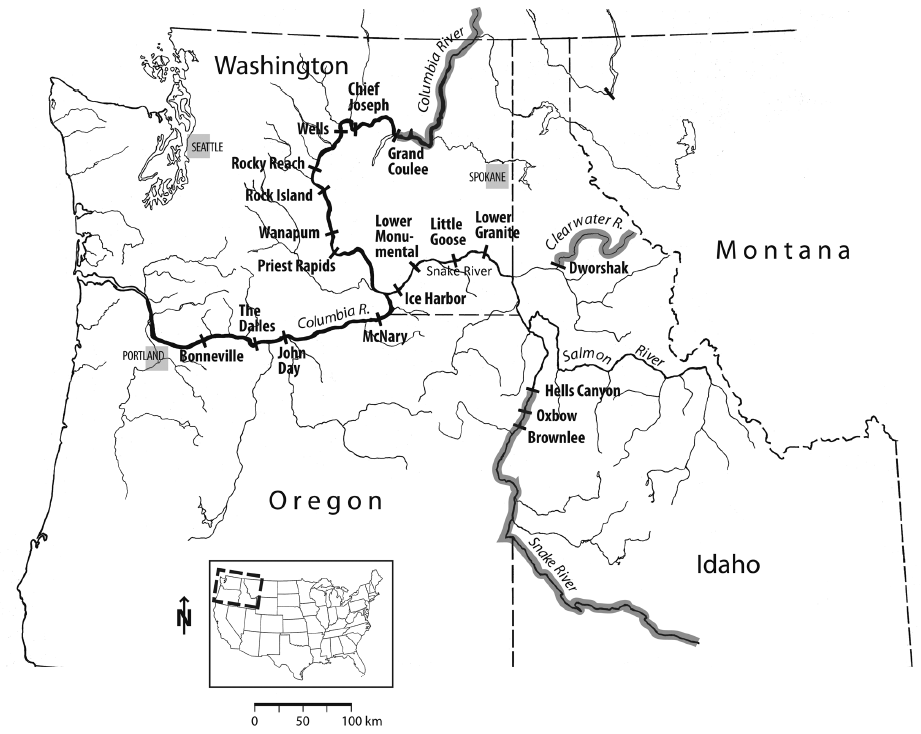 designing salmon friendly dam turbines Fish Dissection Diagram dams in the columbia river system showing regions in gray rendered impassable to salmon by dams and the locations of dams themselves