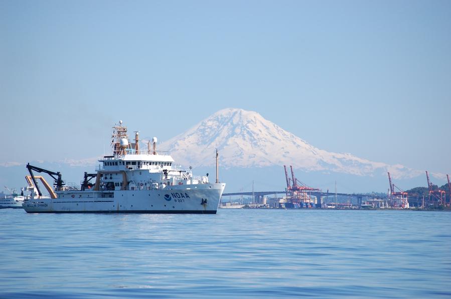 NOAA's fisheries survey vessel, Bell M. Shimada (R-227), christened in 2008, in Elliot Bay. Photo by Sean Mooney.