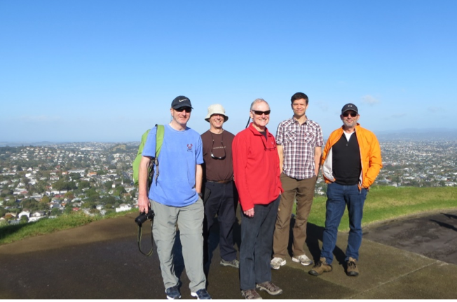 May 2016 of me overlooking Auckland, New Zealand, from the top of a small extinct volcano in the center of (L to R) Geoff Tingley, David Agnew, Jonathan Jacobson, and George Clement, attending a Marine Stewardship Council Principle 2 workshop.