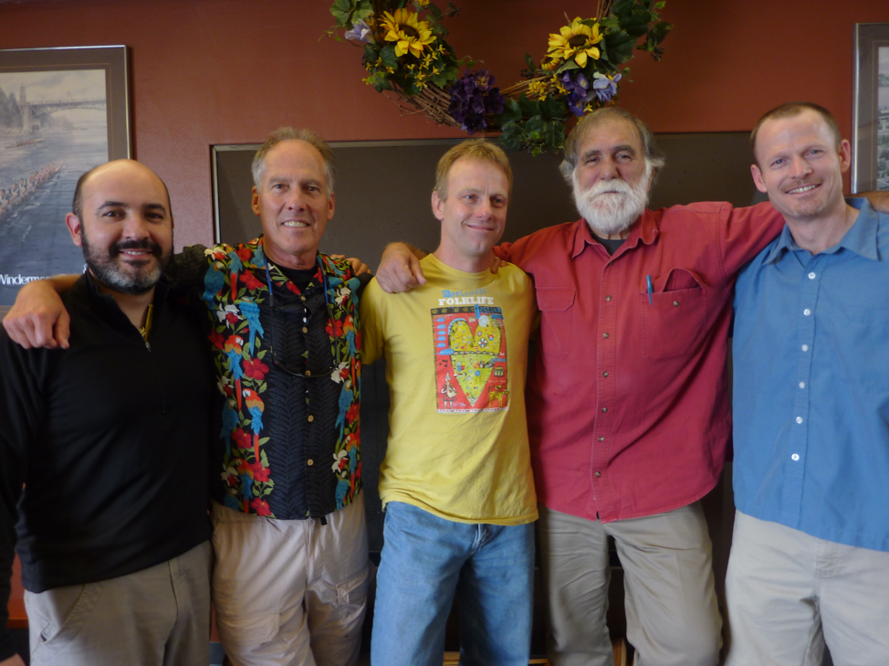 David, with former students and colleagues Juan Valero (MS, 2002; PhD, 2011), Tim Loher (PhD, 2001), Lobo Orensanz (PhD, 1989), and Noble Hendrix (MS, 2000; PhD, 2003).