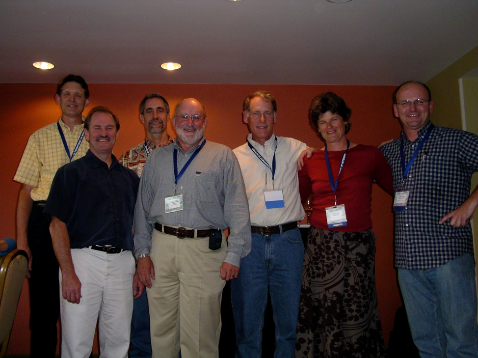 Jim Karr with group of graduate students during special symposium at 2007 San Francisco AFS annual meeting celebrating Jim's career (L to R: Kurt Fausch (post-doc), Tom Martin (PhD), and Paul Angermeier (PhD, all Illinois); Jim Karr; Owen Gorman (MSc, Purdue); Leska Fore (MSc, QERM 1992) and Casey Rice (MS SAFS, 1997; PhD SAFS, 2007)